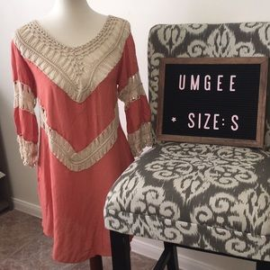 Umgee Tunic Dress Boho Crochet Size Small